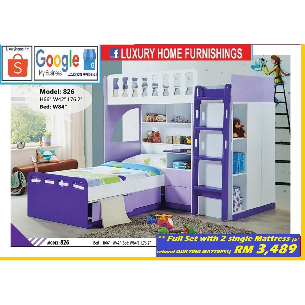 DOUBLE DECKER BED, FULL SET, SINGLE, EXPORT SERIES!!