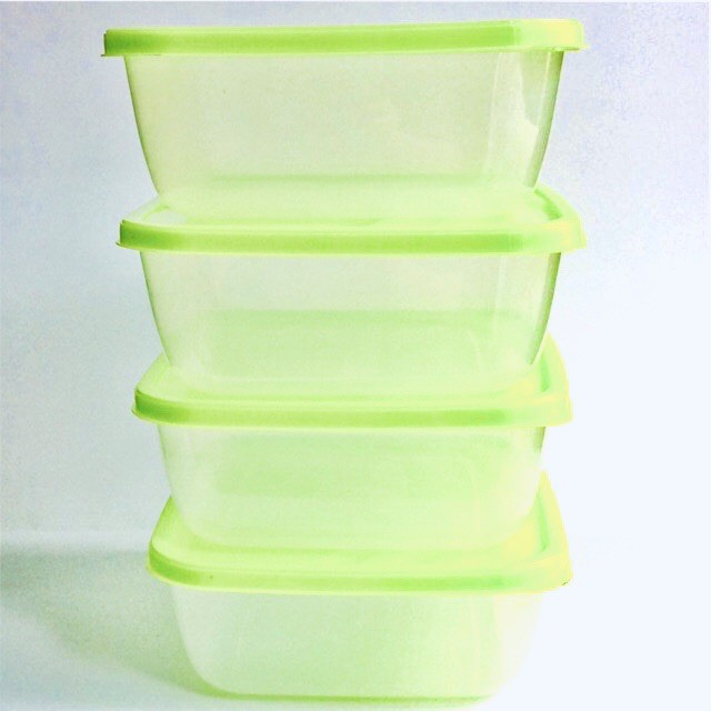 Food Storage Container BPA Free Air Tight & Hygienic Tupperware Stackable Lunch Box 4pcs / set