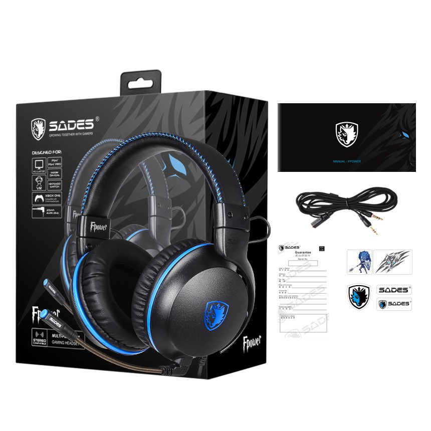 {SD-FPOWER-BLUE} Sades Fpower Video Gaming Headset - PS4/ PS5,XBOX,NS,PC,Mobile (Blue)