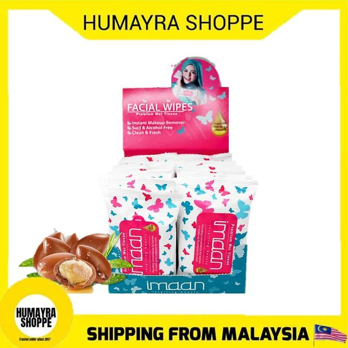 [BOX] IMAAN SUCI Premium Wet Tissue | Argan Facial Wipes Tissue