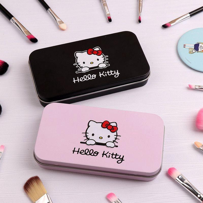 40c312713 7Pcs Hello Kitty Makeup Brush Set with Iron Mini Box Make up ...