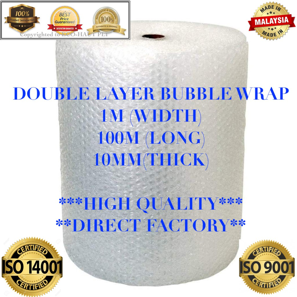 [Free PICKUP / DELIVERY] DOUBLE LAYER BUBBLE WRAP(1 METER x 100 METER x 10MM)  x 1 ROLL   ***FRESH NEW STOCK***