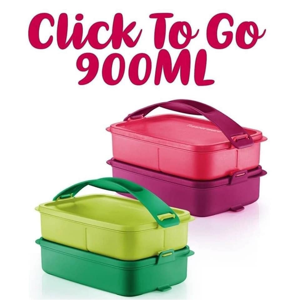 Tupperware click to go blue red lunch box with handle/ red SET/ Green SET 900ML