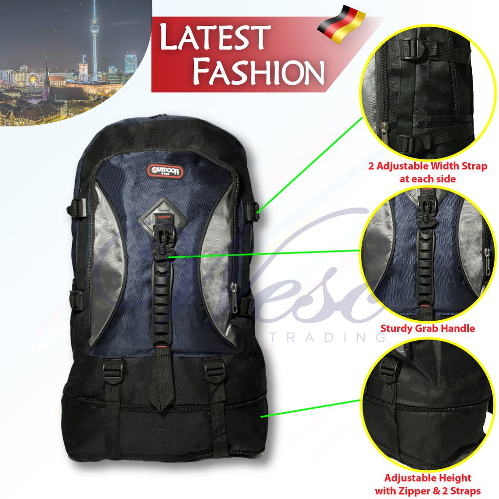 German Design LARGE Hiking & Travel Outdoor Star Water Resistant Backpack Multi-Purpose Bag (Blue)