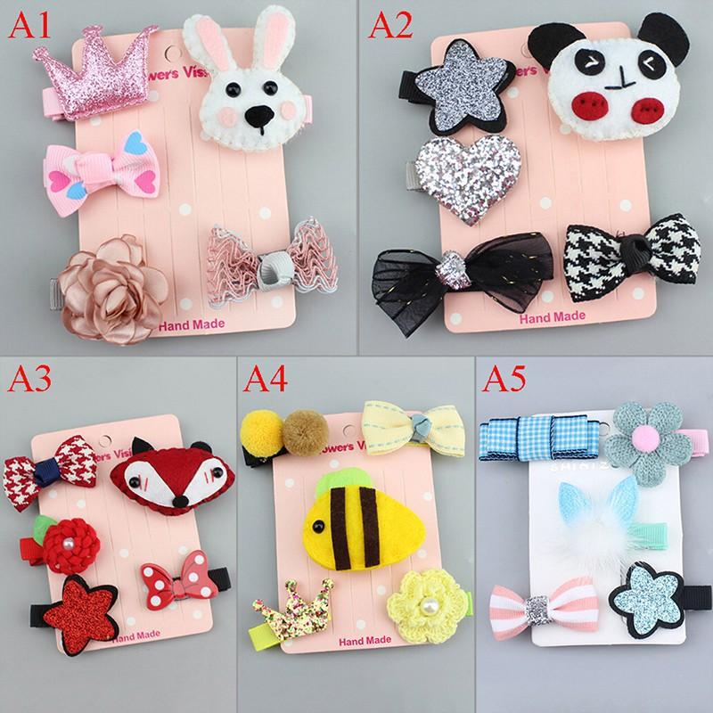 5Pcs Lovely Kids Infant Hairpin Baby Girl Cartoon animal motifs Hair Clip Set