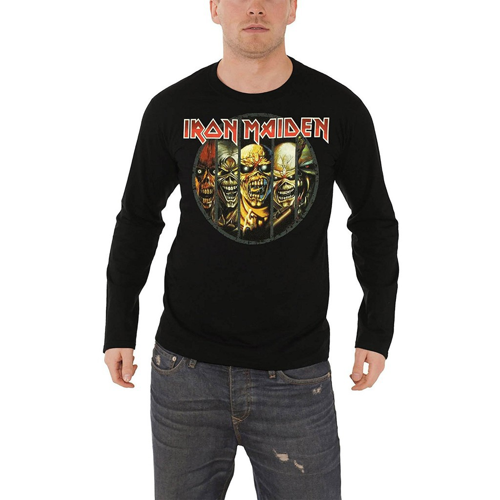 b86f1a223c60 Men Short Iron Maiden T Shirt Mens Eddie Evolution Long Sleeve Black    Shopee Malaysia