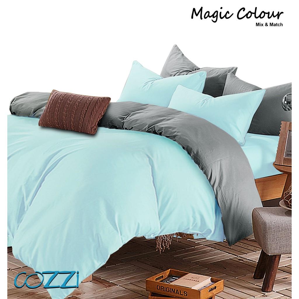 Special Edition Cozzi Magic Colour Cadar Bedsheet With Comforter King Queen Plain Microfiber Light Blue Grey Shopee Malaysia