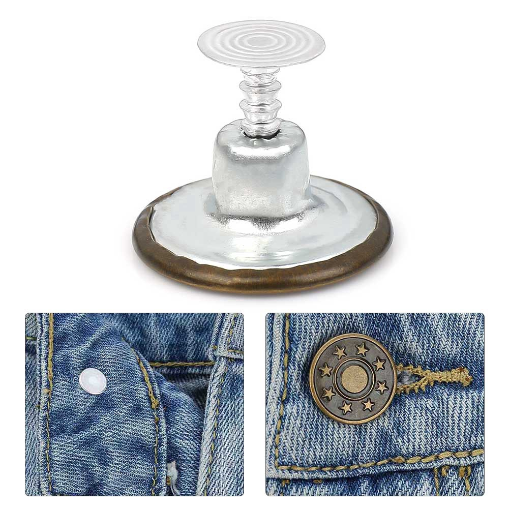 Set of 6pcs 20mm Denim Jeans Buttons Stud Hammer On for Repair Replacements