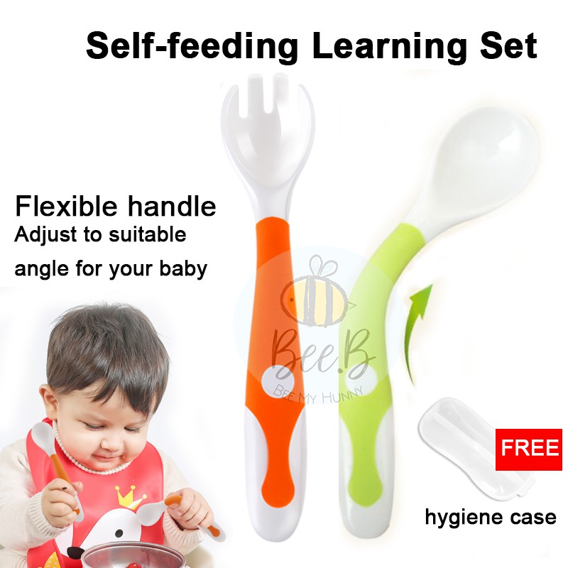 Baby Food Masher Bowl Set Training Spoon /& Fork Utensil Travel Case Included