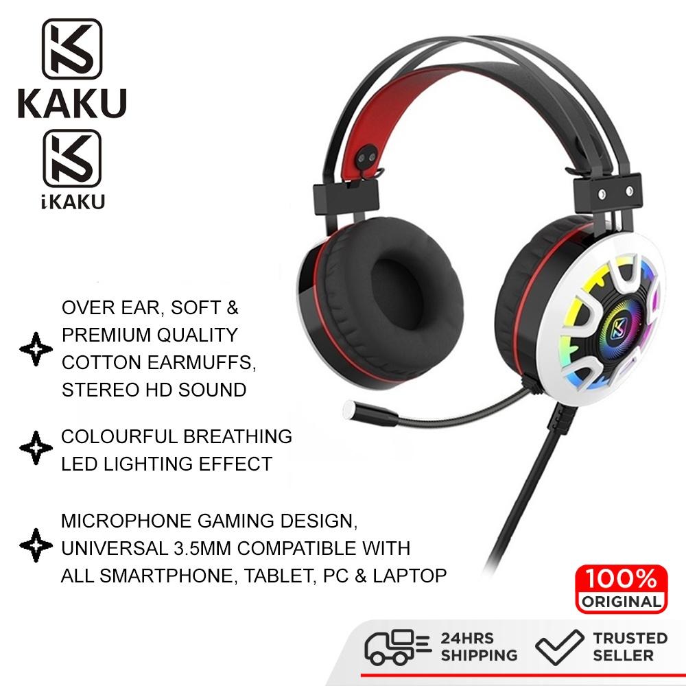 KAKU IKAKU LONGHUN Gaming Headphone Wired 3.5mm Stereo Sound Colourful Lightning Effect Smartphone Tablet Laptop Android