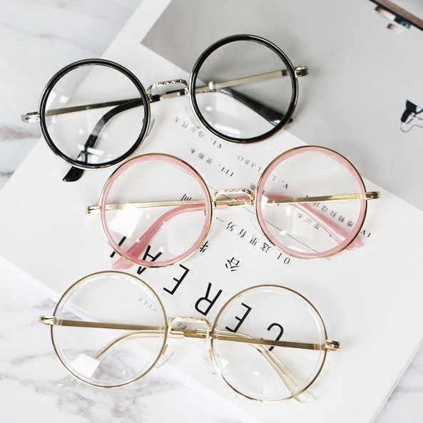 eb9a0dea8 All-match big pink transparent circular flat mirror ulzzang retro glasses  frame