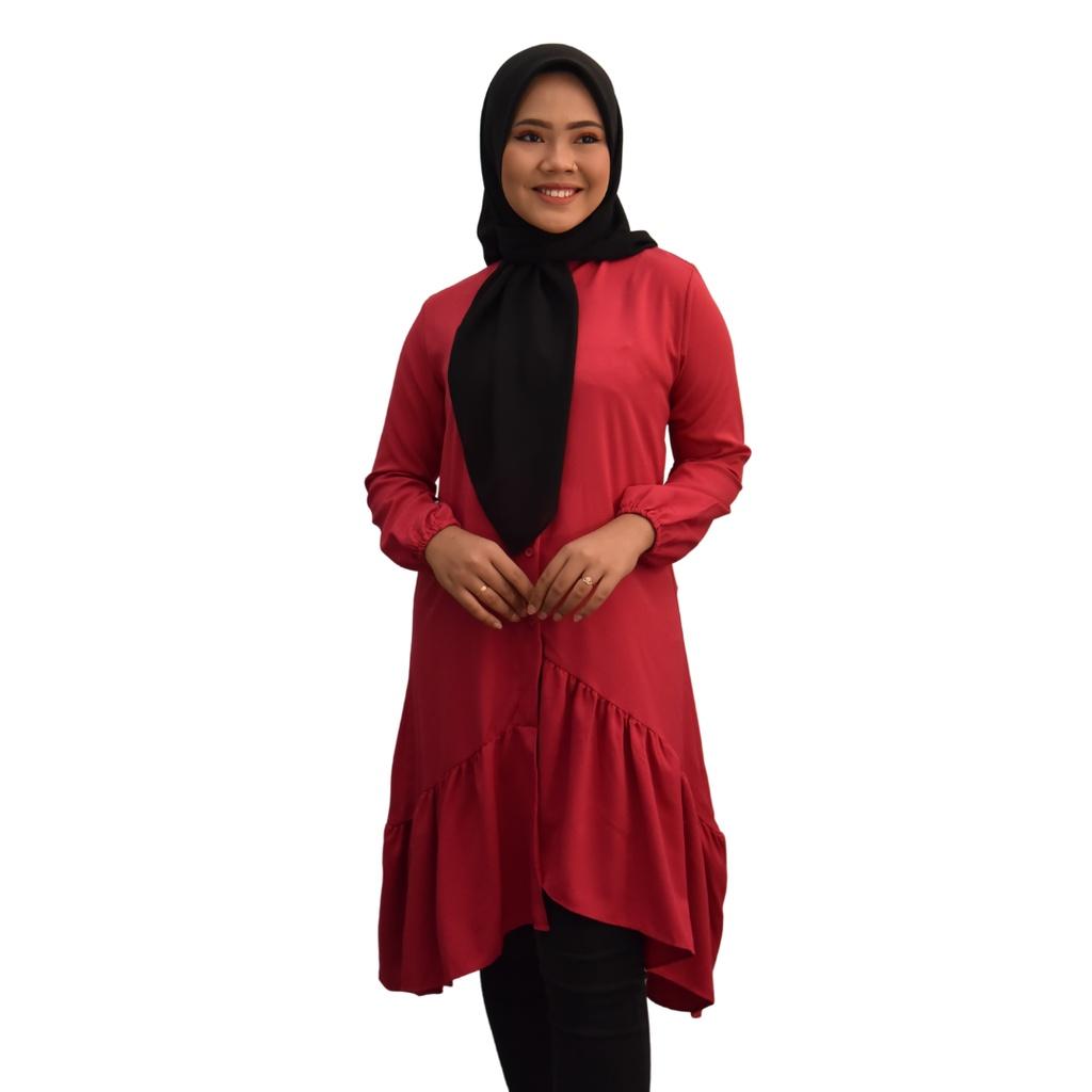 TASHA blouse LABUH  Fashion Design Muslimah Premium Como Crepe Long Sleeves Plain Blouse Lengan Panjang Ironless
