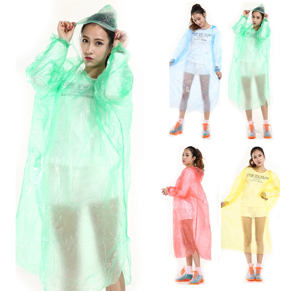 DISPOSABLE Poncho Rain Coat Festival Camping Emergency Waterproof Outdoor Yellow
