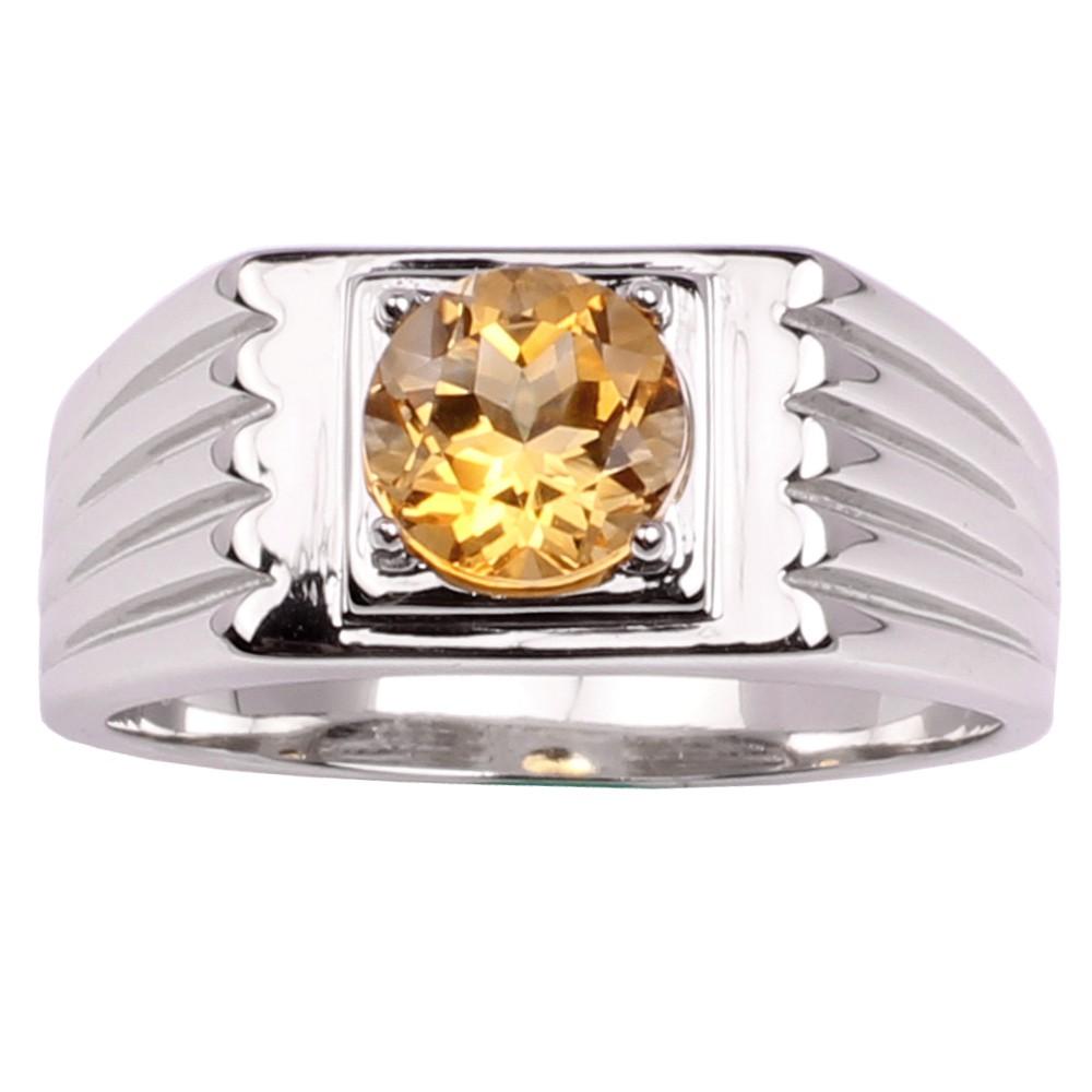 3d60509b9d60c LINGSHAN Natural Yellow Citrine 925 Silver Ring for Men 8mm Stone November  Birth