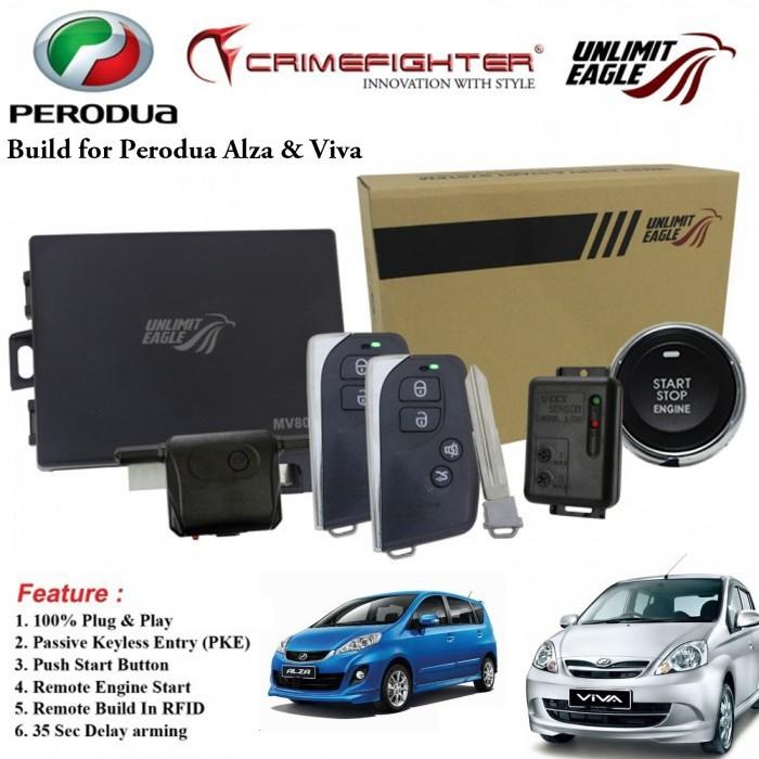 CRIMEFIGHTER CF-8086K 1 Way PKE Push Start ALZA & VIVA Plug Play Car Alarm