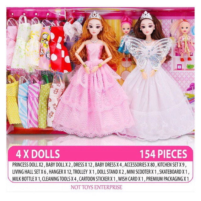 5626ed5ce96 NTE 154 pcs Barbie Doll Set Big Princess Gift Box Fantasy Dress Up Doll  Children