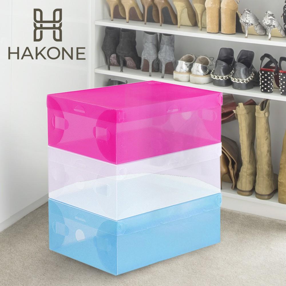 [3 สี] HAKONE กล่องรองเท้า พลาสติกพับได้ ฝาเปิด 27.5x18x10cm ใส่ได้ถึง size 42 ซ้อนได้ ชั้นวางรองเท้า Ho