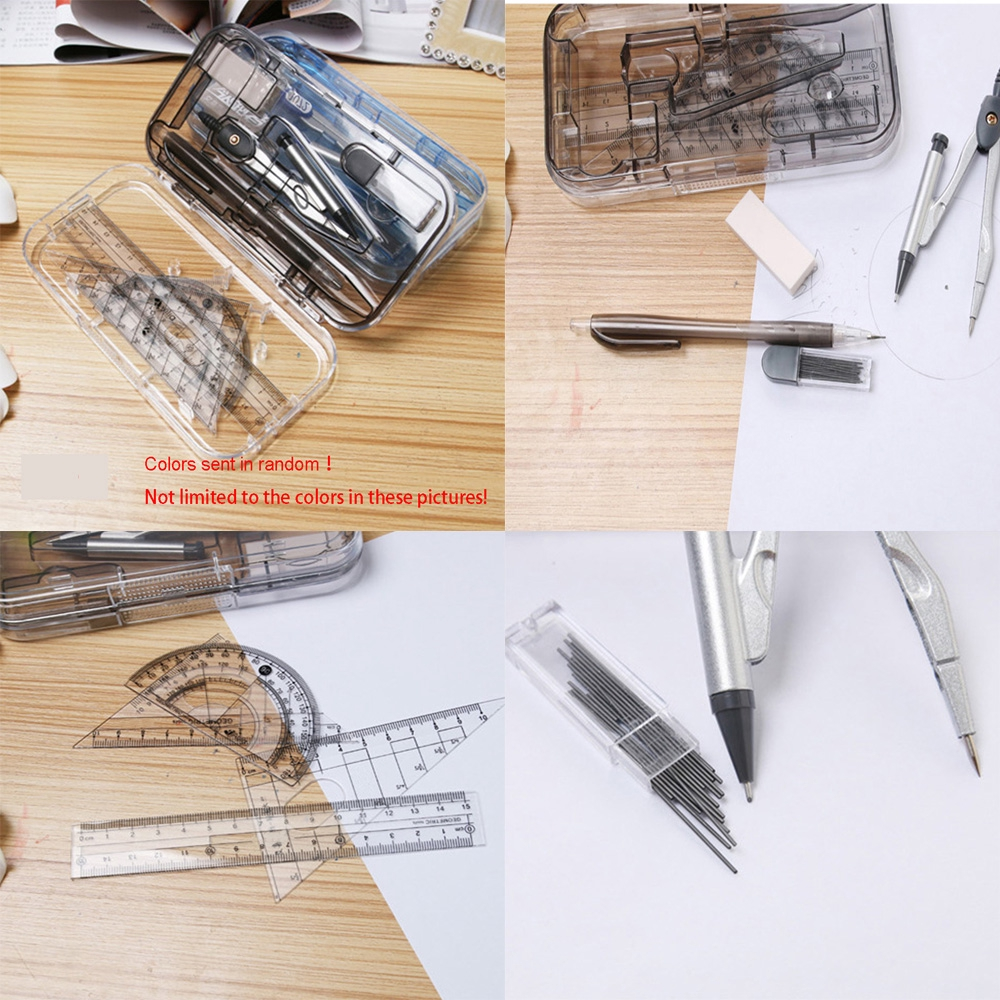 8pcs//Set Portable Compass Ruler Pencil Precision Geometry Protractor Drawing Essentials Math Study Tool Kit