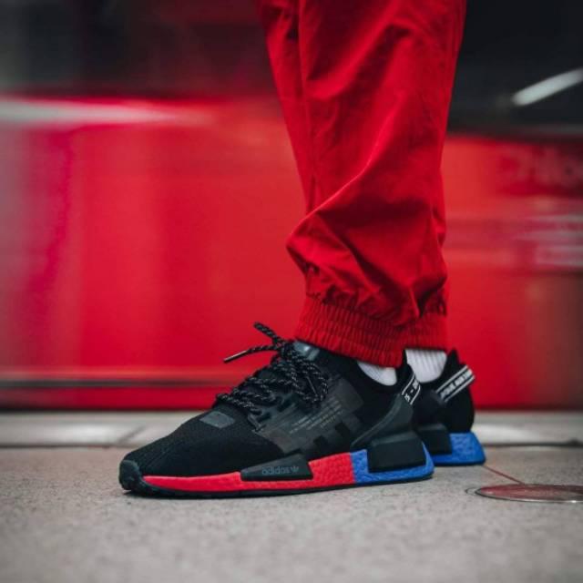 adidas nmd r1 black blue red