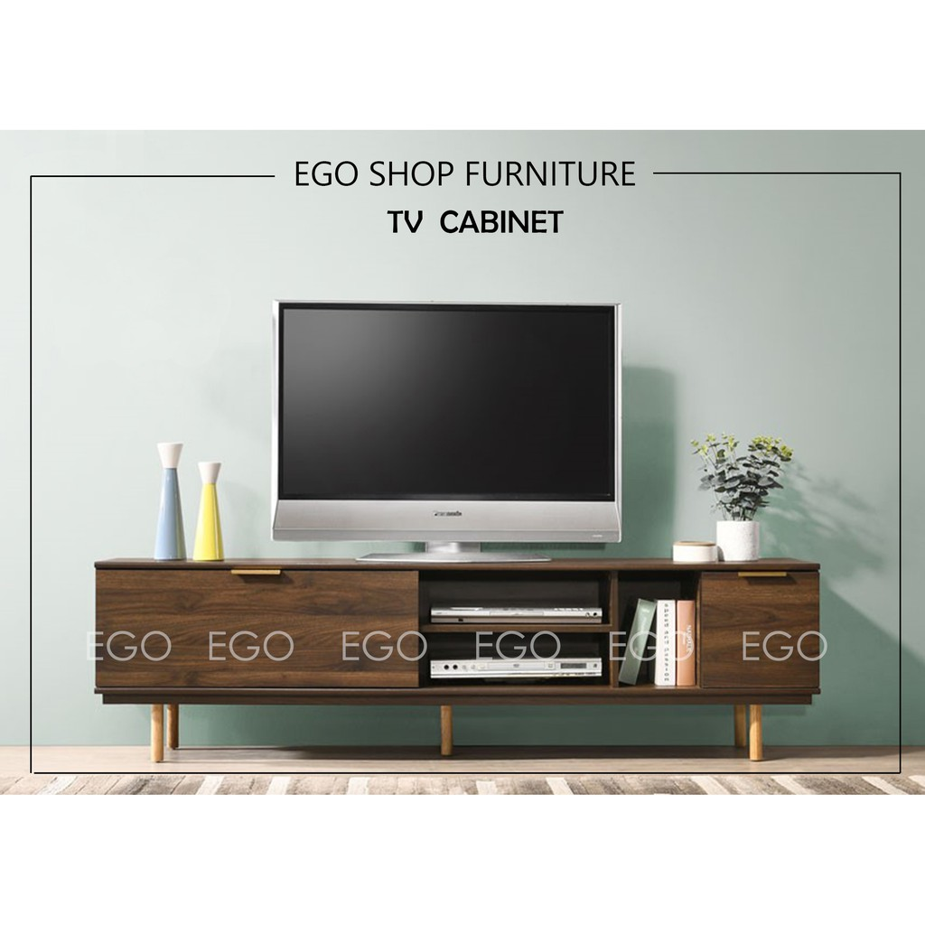 Ego 6 Ft Tv Cabinet Tv Rack Simple Modern Easy Solid Wood Board Media Storage Rak Tv Kabinet Tv Shopee Malaysia