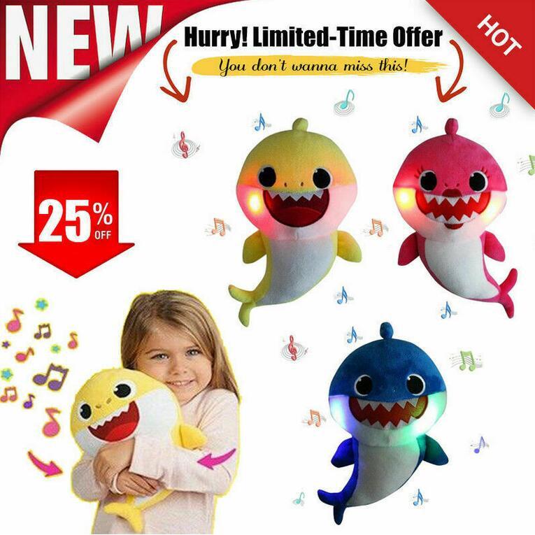 32cm Baby Shark Plush LED Singing Toys Music Doll English Song Gift for kids