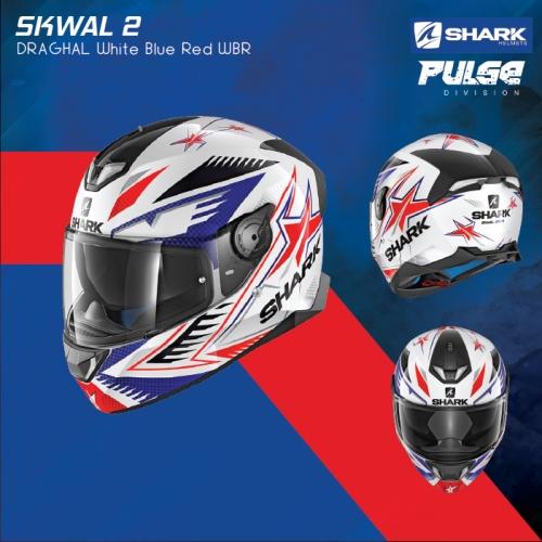 Shark Skwal 2 Draghal White Blue Red WBR Full Face Motorcycle Helmet