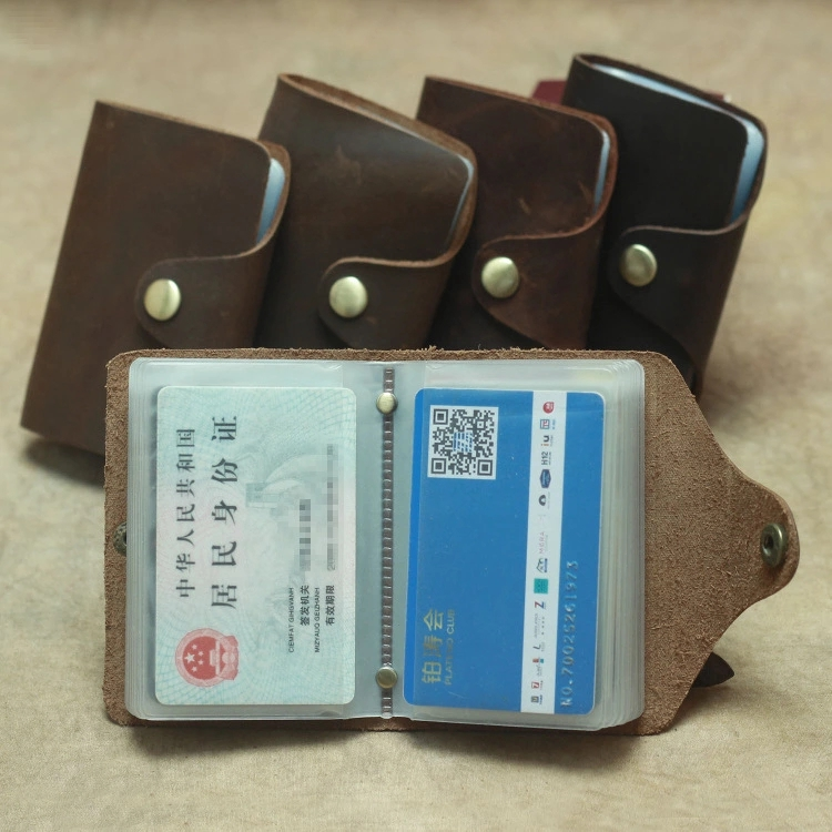 Retro Genuine leather card package multi-card slots bank-card ID-card bag For Men and Women