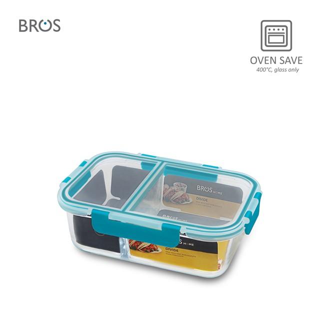 BROS Glass Container Divide Rectangular - 2 Com (1500ml)