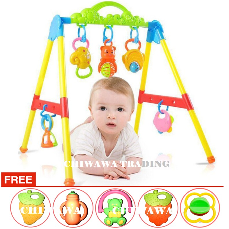 【Free:1 x Toy Set】Baby Kids Sound Play Gym Sport Rack Crawling Game Playmats Bed