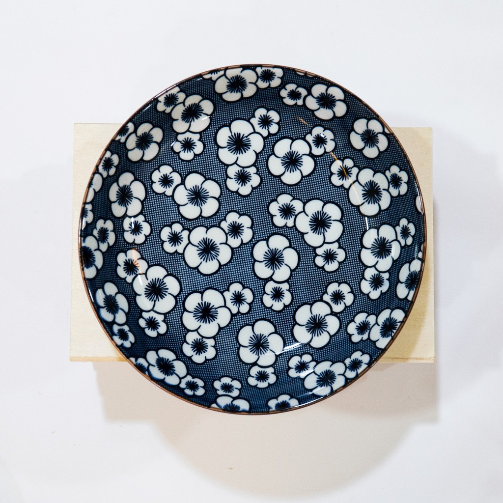 17.5cm Japanese Style Plate Blue And White Simple Underglaze Color Ceramic Tableware Plate Pinggan 日式古典风陶瓷碟