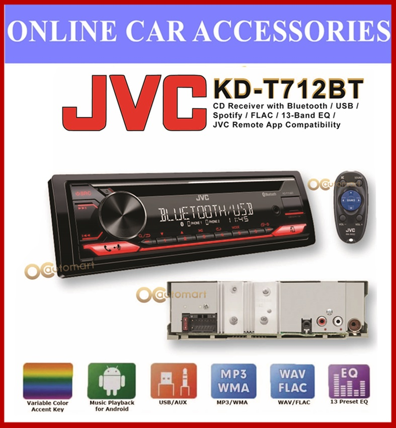 JVC KD-T712BT 1-DIN CD Receiver CD Receiver with Front USB/AUX Input Variable-Color