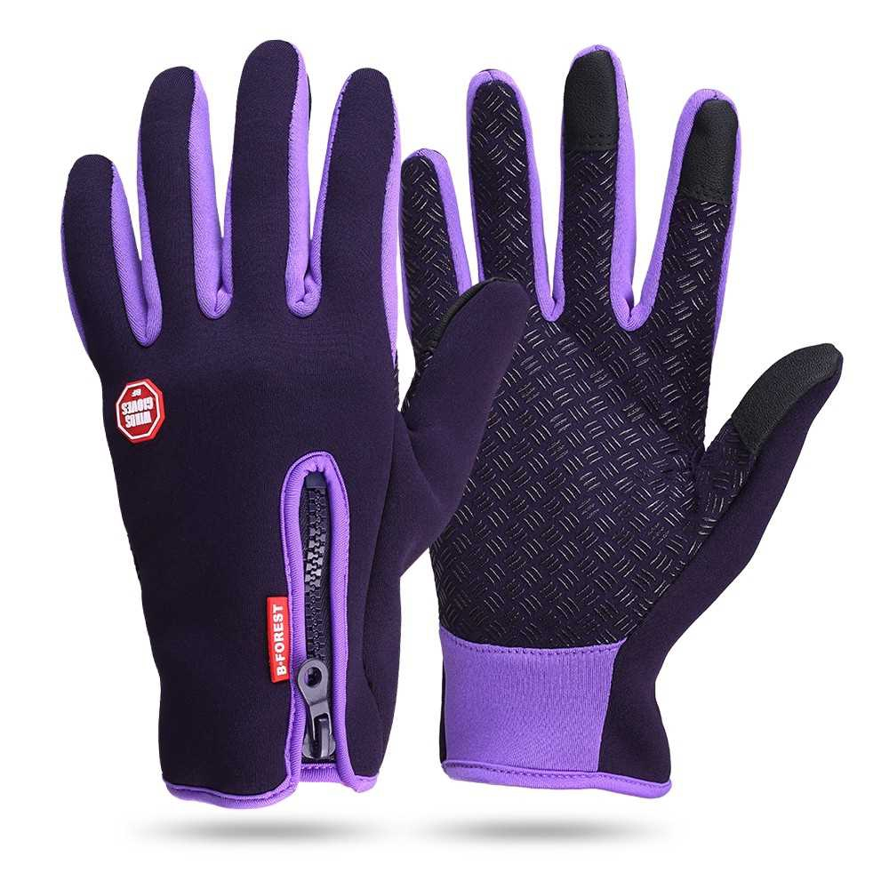 c92499f9dceb4 Winter Leather Gloves & Mittens Driving TouchScreen Gloves (purple)    Shopee Malaysia