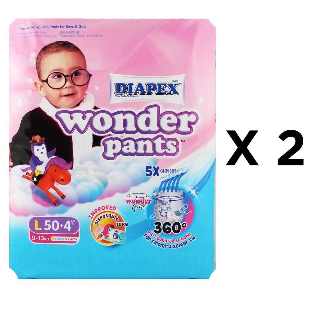 Diapex Wonder Pants L50+4 Twin Pack (108s total)