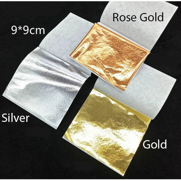 10 Pcs Imitation Gold Leaf Foil Art Craft Paper Gilding Sliver Copper DIY Slime Crafting Decoration