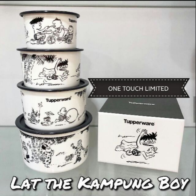 [HOT ITEM] LIMITED EDITION TUPPERWARE One Touch Lat Kampung Boy Canister Set