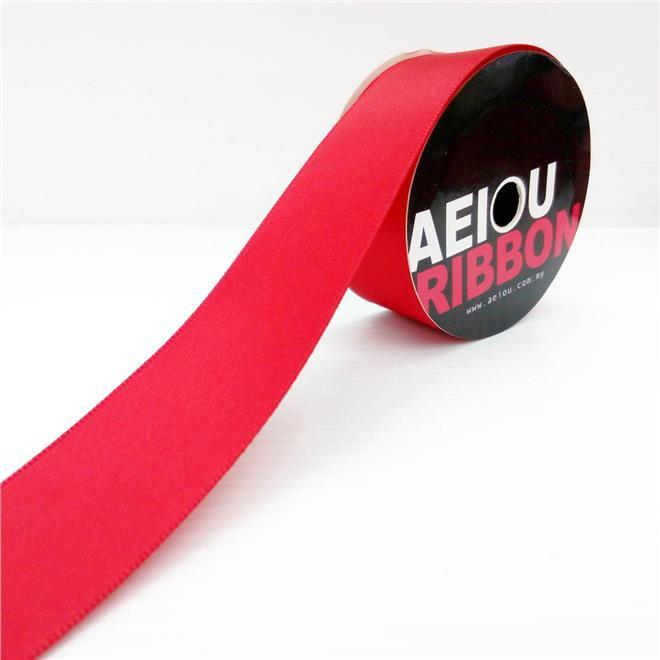 AEIOU Red Plain Ribbon 25mm
