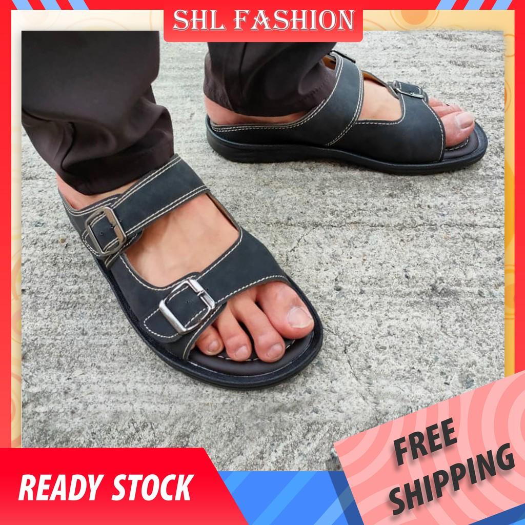 SHL Men PU Leather Sandal Advanced Selipar Kasut Lelaki size 40-44【男士拖鞋】- 3616