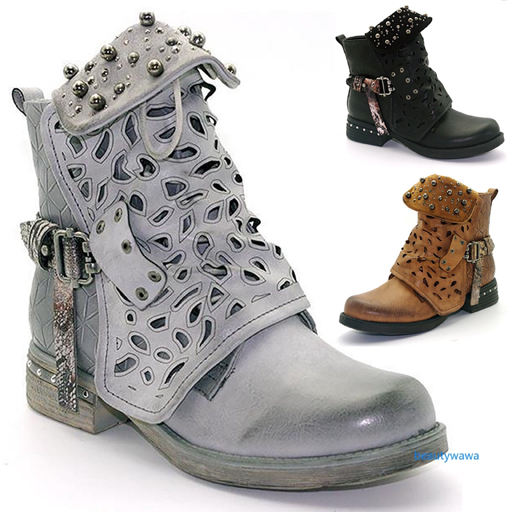 ✿WA✿ Women Retro Studded Goth Zip Ankle Booties Hollow Carved Martin Punk