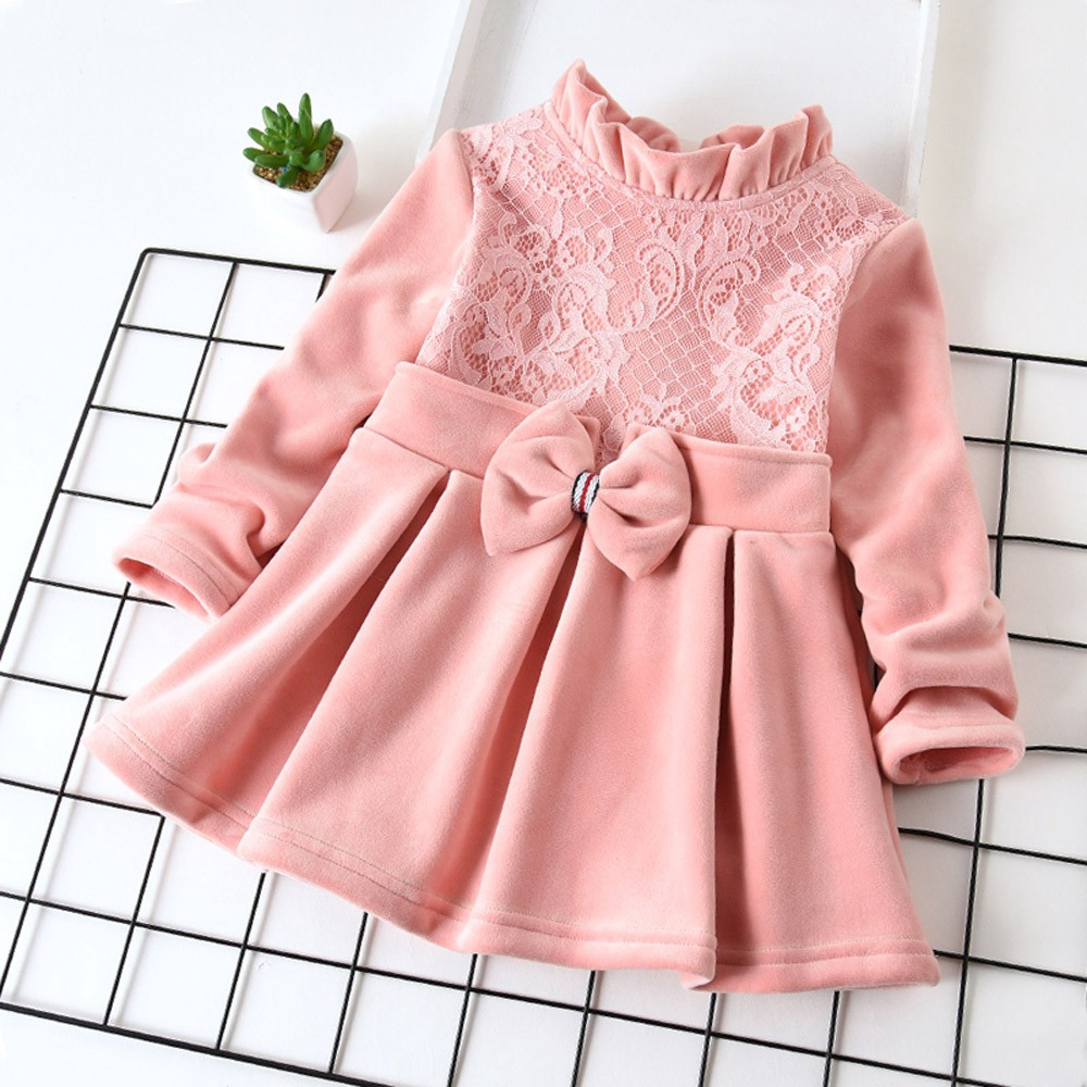 Toddler Baby Kids Girls Winter Thick Lace Bow Ruched Princess Dress Warm Clothes