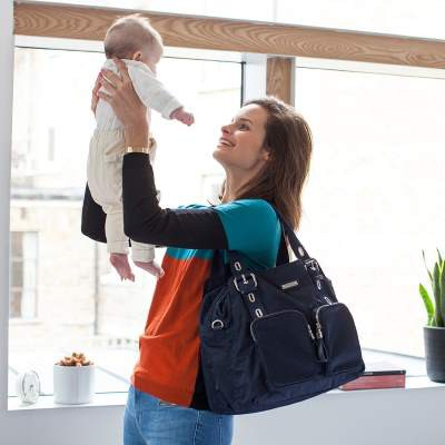 Storksak: Ultimate Duo Alexa & Mini Fix Diaper Bag - Taupe / Navy