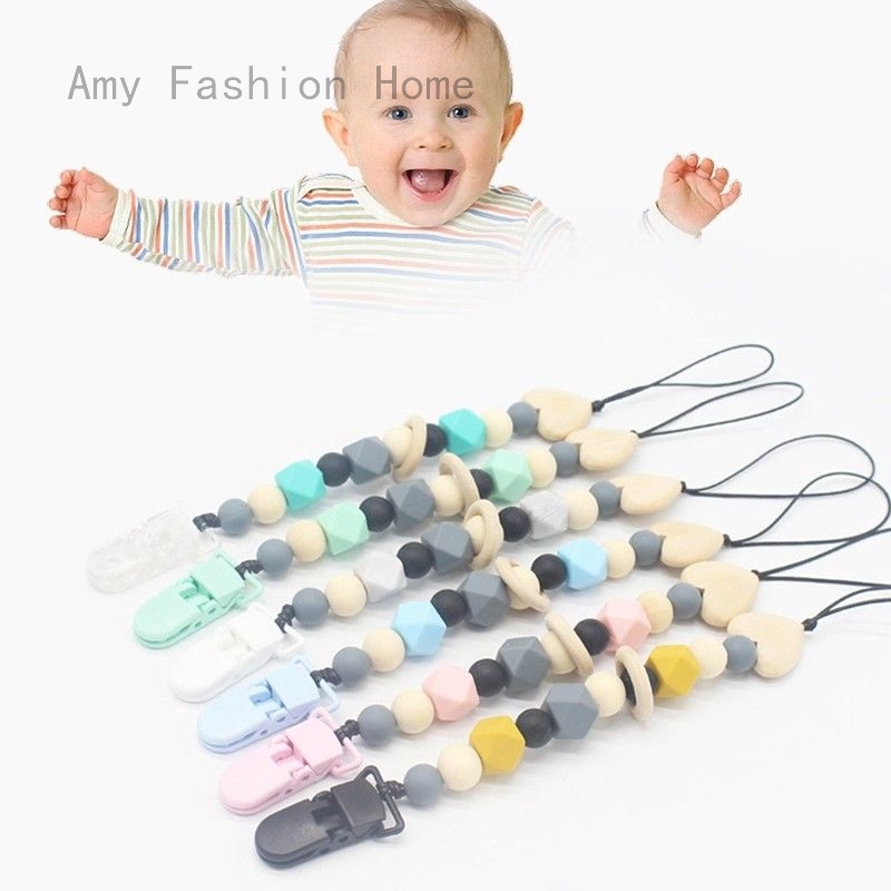 Lovely Chain Bead Silicone Soother For Baby Chew Dummy Pacifier Clip Teething UK