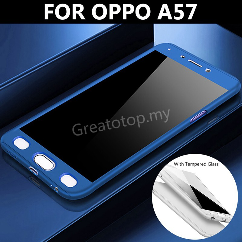 Luxury 360° Full Protection Cases For OPPO A57 Phone shell + Tempered Glass Film |