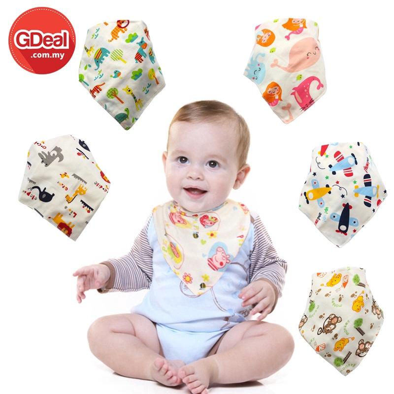 GDeal Baby Double Buckle Child Turban Bib Scarf Saliva Towel Triangular Bandage Double Layer Buckle (Random Colour)