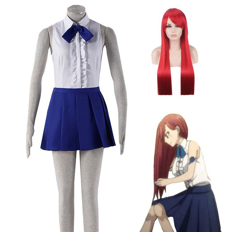 Fairy Tail Erza·Scarlet Daily Uniform Skirt Cosplay Costume Dress Outfit