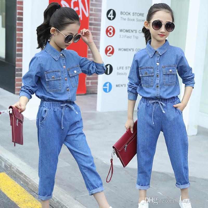 Teens Girl Long Shirt Pant Set Children Clothing Sets Girls Summer Fashion  Denim Clothes Children Outfits Fashion Casual Jeans | Shopee Malaysia
