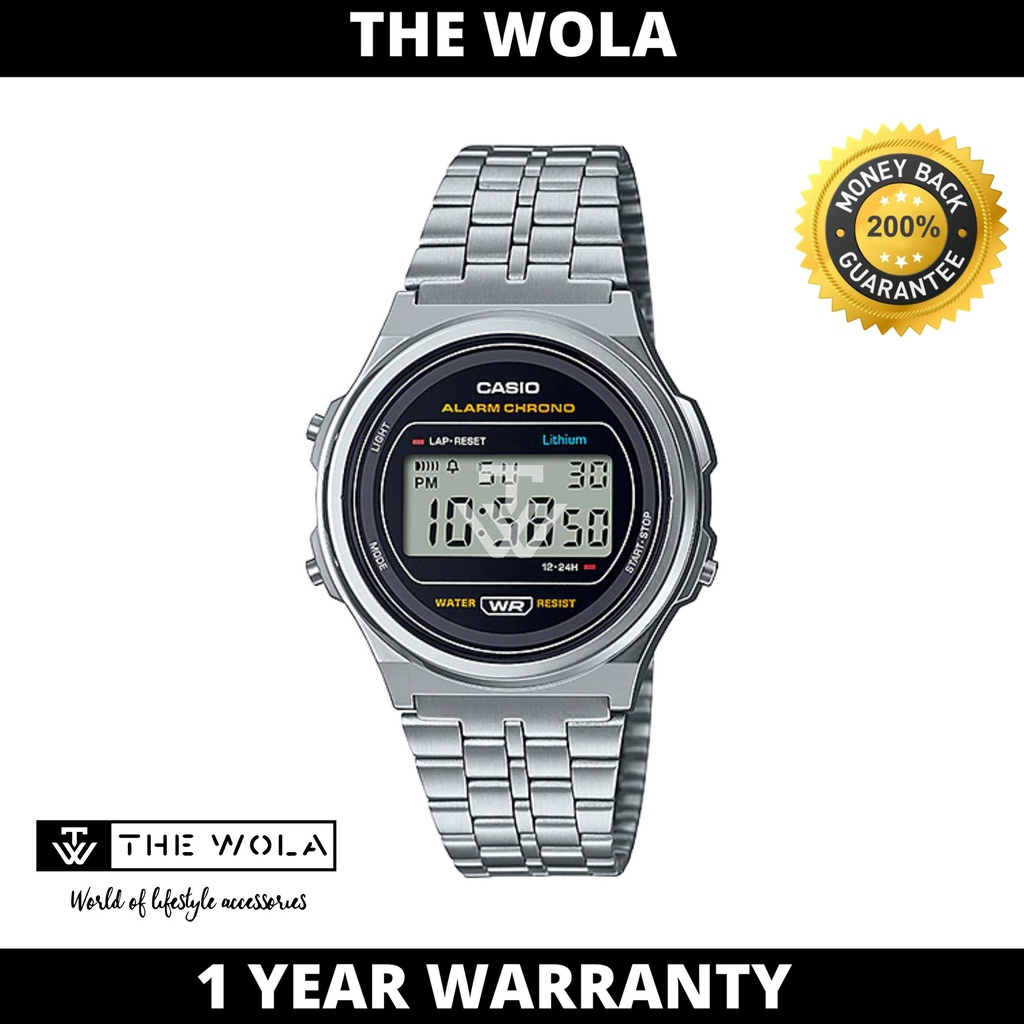 Casio Women's Digital A171WE-1ADF Stainless Steel Band Casual Watch