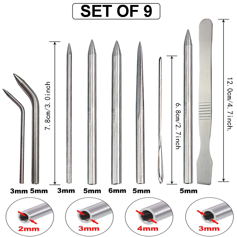 Balight 9pcs//Set Paracord Stitching Needles Set Stainless Steel Lacing Smoothing DIY Tool for Bracelet Laces Strings Useful