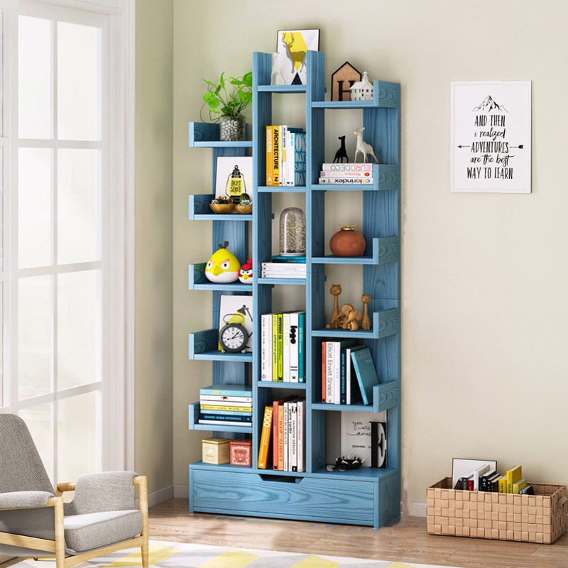 GDeal Living Room Creative Tree Shaped Bookcase Bedroom 18 Layers Book Storage With Drawer