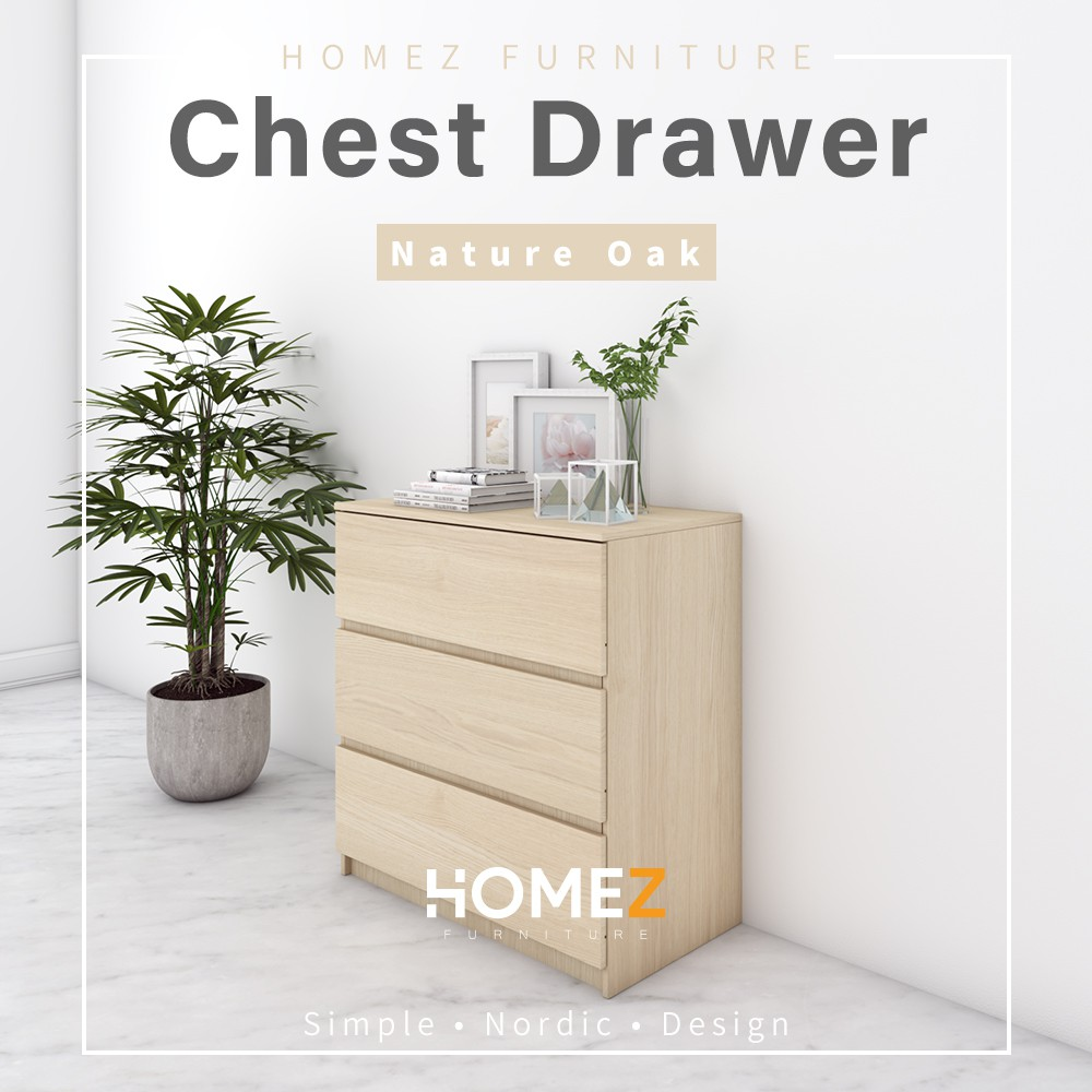 [Bigger Size] Homez Chest Drawer HMZ-CD-DT-7000 with 3 Layer Drawer Storage - 2.5 ft