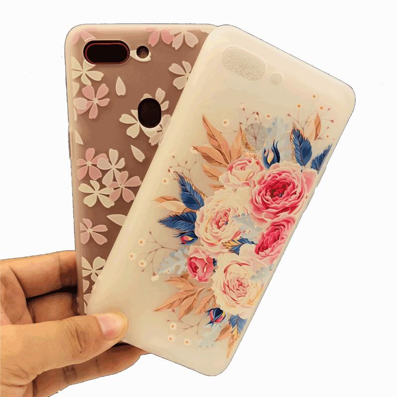 Casing OPPO F7 Youth A71 A71K A3s A5 R15 Pro Case Soft Flower TPU Full Cover